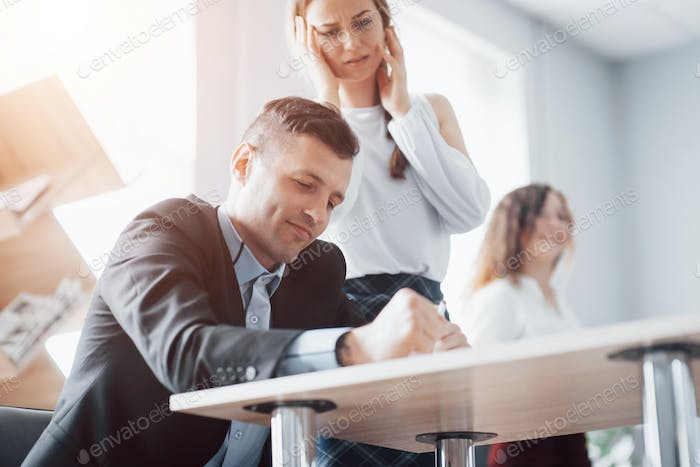 Selection of a job candidate who is interviewed in a beautiful, spacious office
