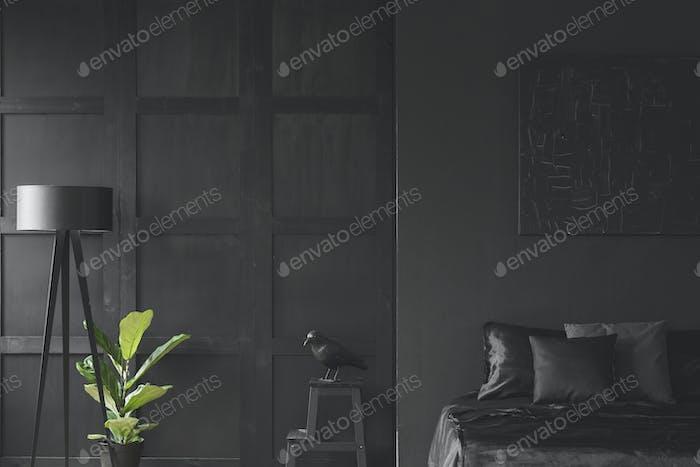 Monochromatic black bedroom interior