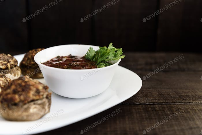 mushrooms with meat