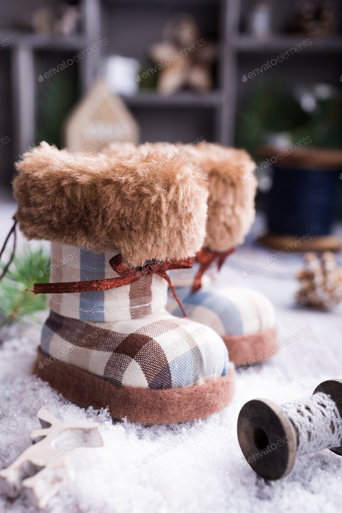 Christmas greeting card with felt boots