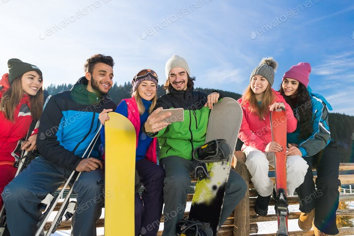 People Group With Snowboard And Ski Resort Snow Winter Mountain Cheerful Watching Video