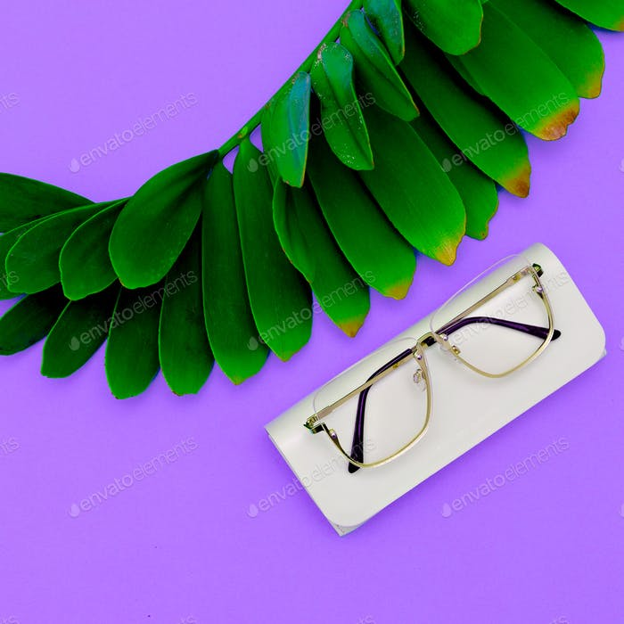Fashion Glasses. Stylish Eyewear accessory for a woman. Flat lay