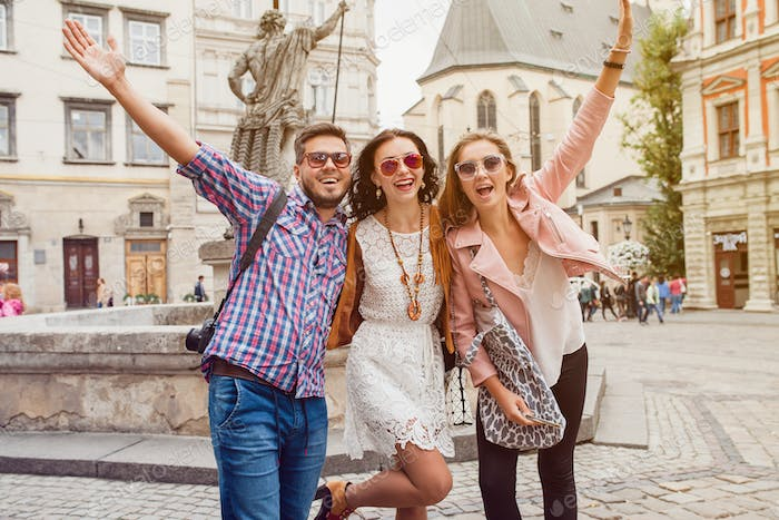 young hipster company of friends traveling