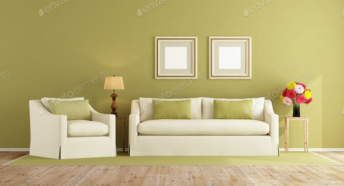 Green living room in classic style