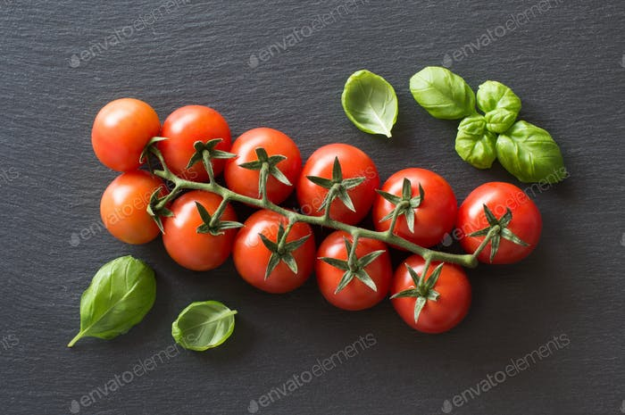 Fresh cherry tomatoes and basil