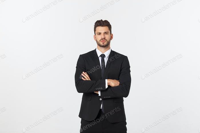 Business Concept - Portrait Handsome Business man confident face. White Background