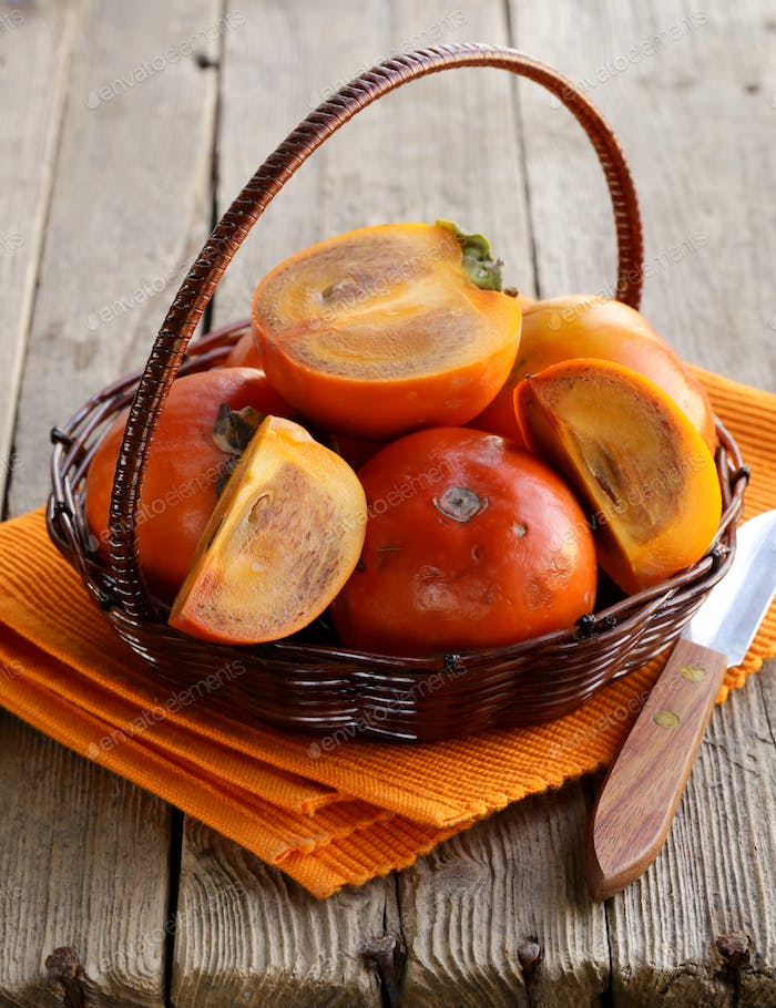 Persimmon Fruit Whole and Sliced