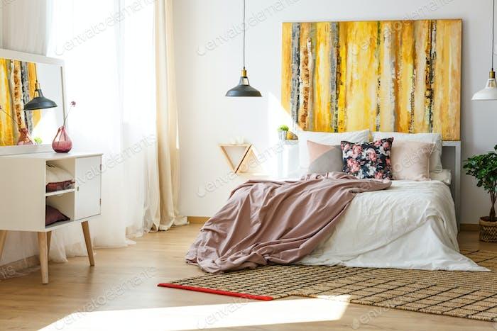 Bedroom in warm colors