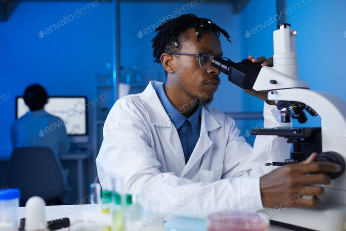 African-American Man Working in Laboratory