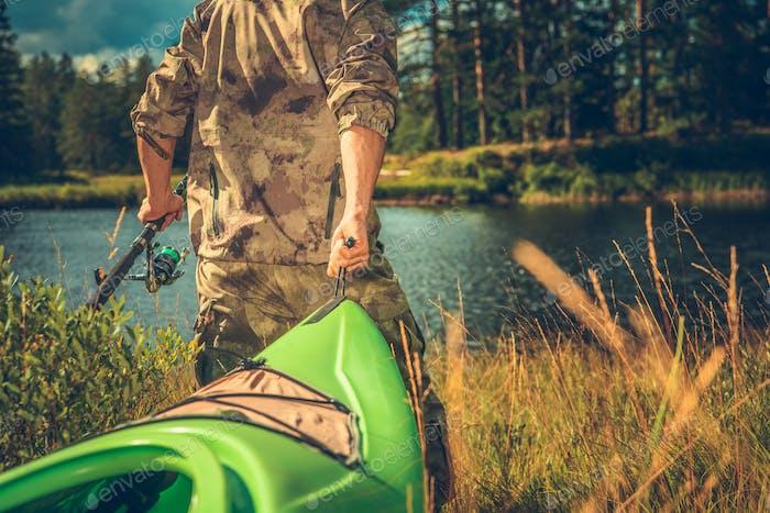 Fisherman with Kayak