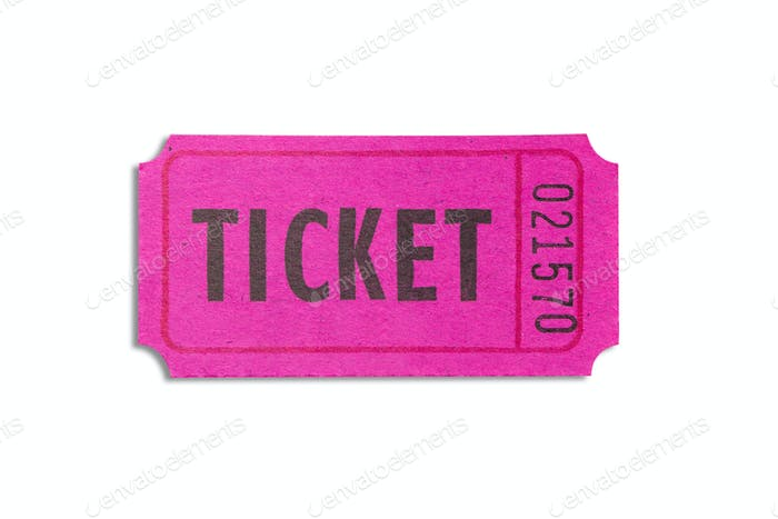 Purple color ticket isolated