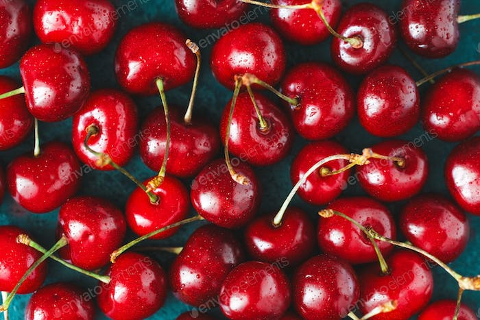 Ripe cherry food background. The concept of healthy organic food.