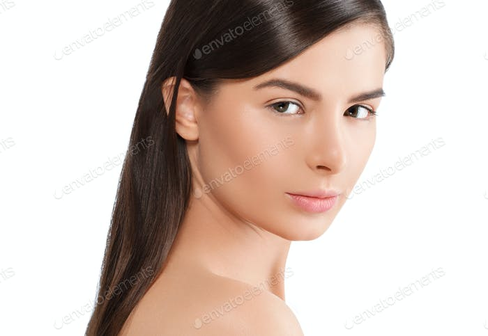 Woman with skin healthy soft and beauty, skincare concept.
