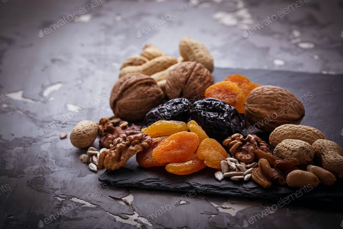 Mix of dried fruits, nuts and seeds