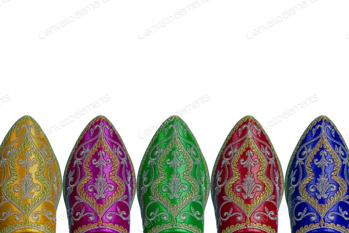 Colorful Moroccan style shoes isolated
