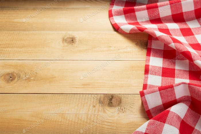 cloth napkin at rustic wooden background