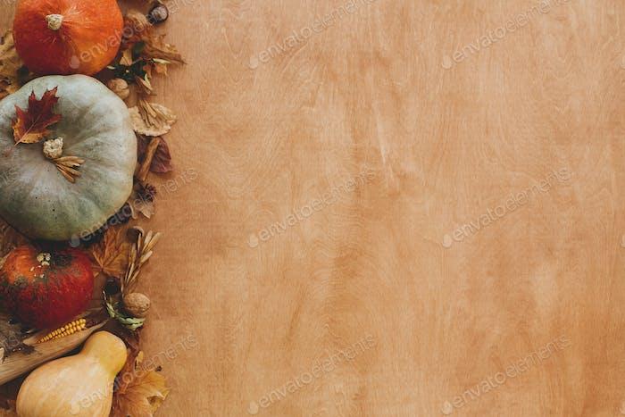Pumpkins, autumn leaves, corn, walnuts,chestnuts,acorns border