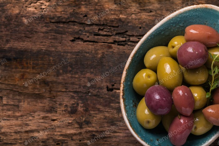 Bowl filled with fresh olives