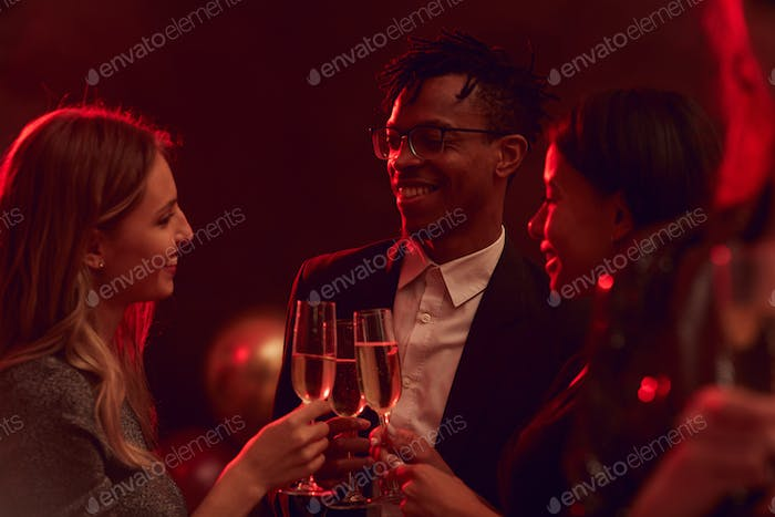 People Drinking Champagne at Reception Party