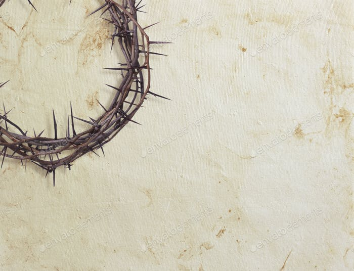 Crown of Thorns on White Paper Background