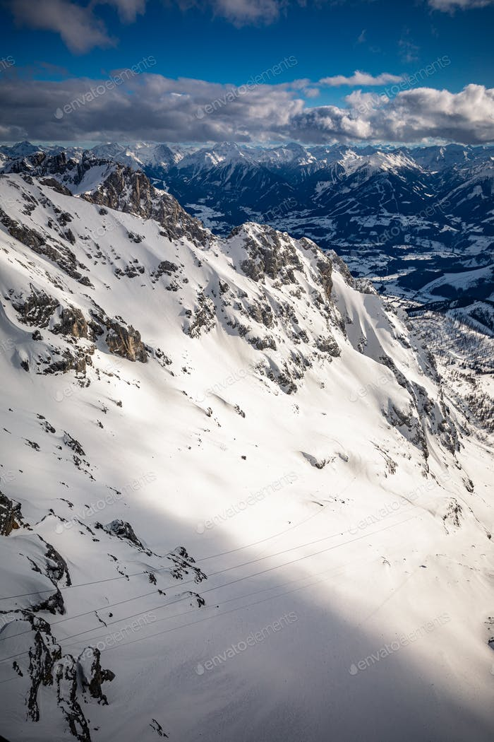 The snowy winter panorama of Dachstein Alps, Austria
