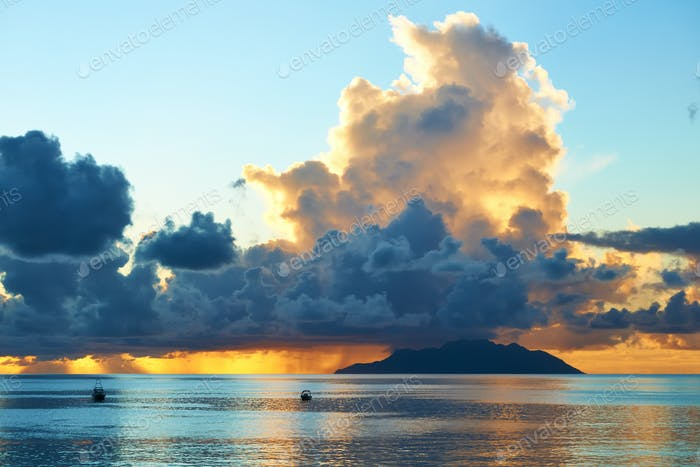 Beautiful sunset at Seychelles beach