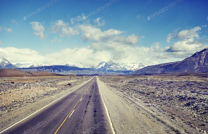 Straße nach El Chalten, Argentinien.