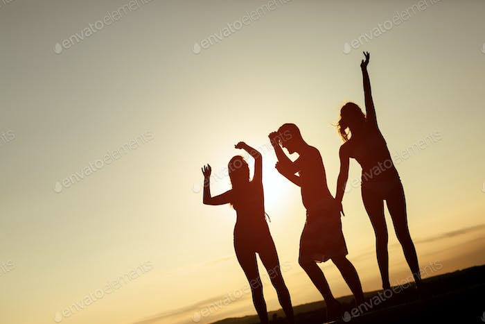 Friends partying during summer sunset