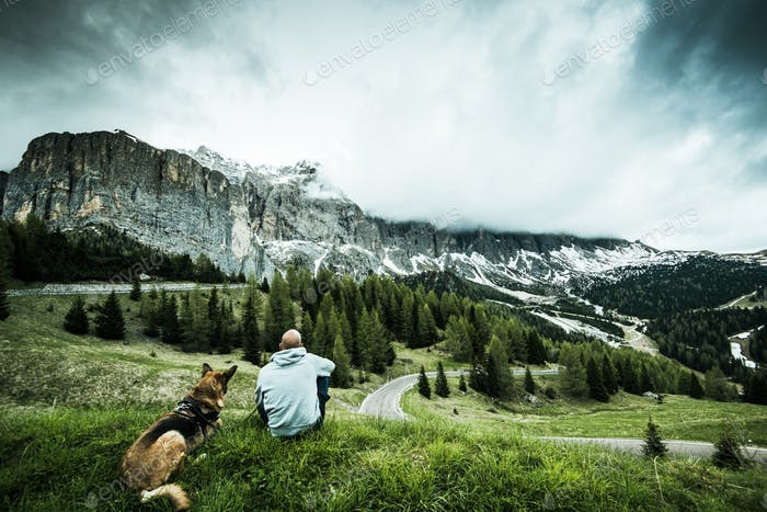 Man with dog on road trip at Gardena pass in Italy