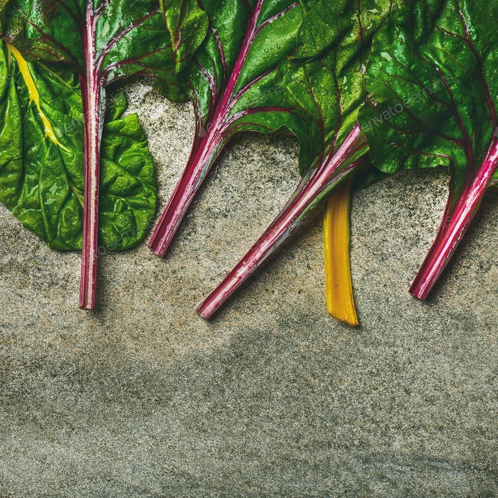 Flat-lay of fresh leaves of swiss chard, square crop