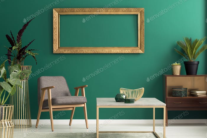 Wooden cabinet in green interior