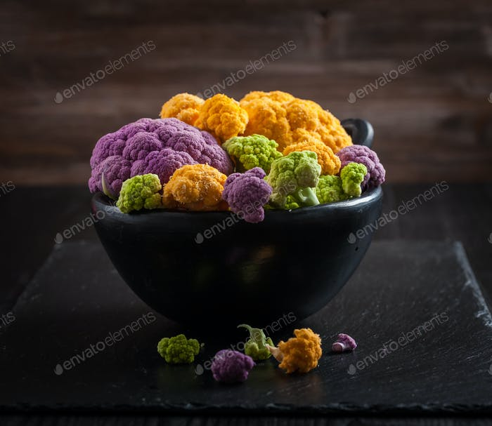 Assortment of organic cauliflower
