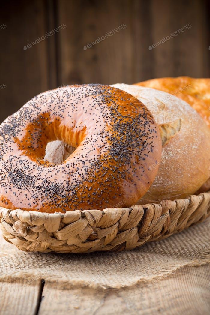 Fresh Irish bread on a wooden background. Studio photography.