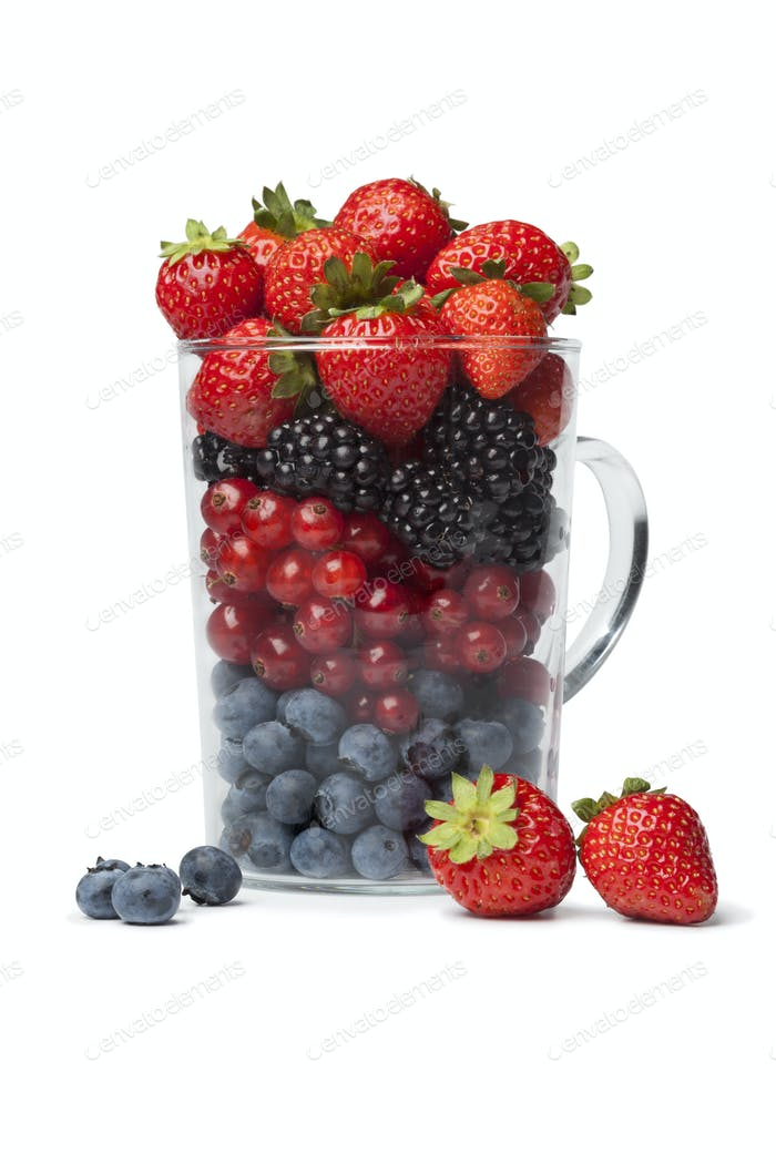 Drinking glass with healthy berries