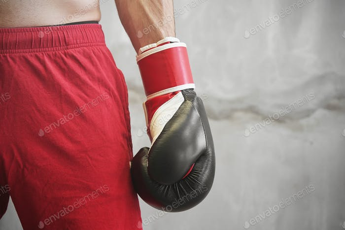 Close up of boxer hand with glove