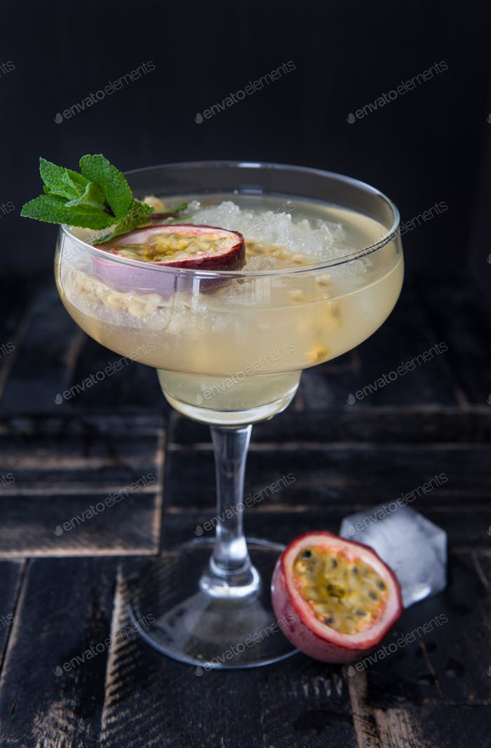 Cocktail with passion fruit
