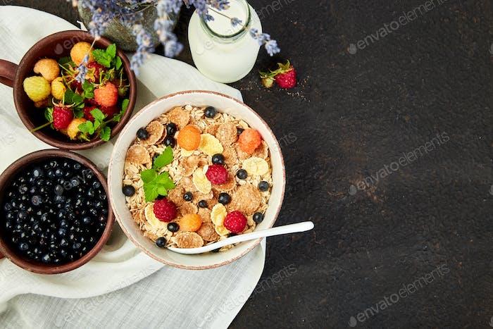 Healthy vegetarian breakfast.