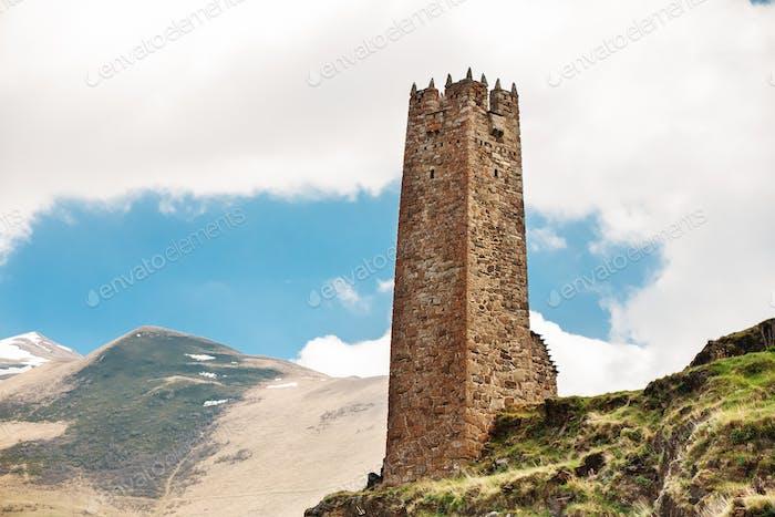 Old Stone Watchtower On Sky Background In Pansheti Village, Kazb