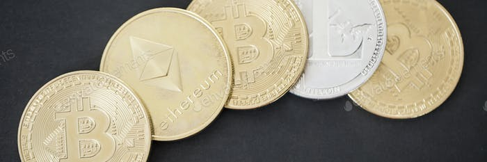 Panorama of golden and silver bitcoin, ethereum and litecoin cry