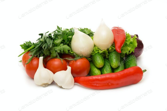 Assorted vegetables isolated on white background