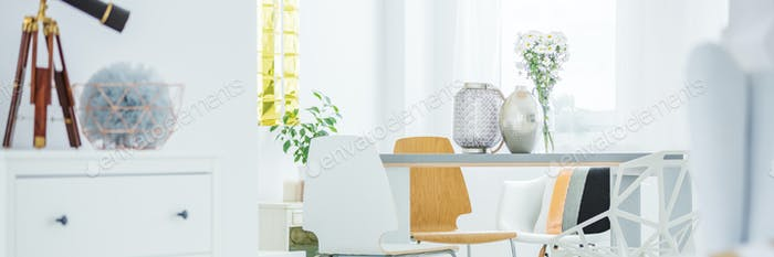 Communal table in bright room
