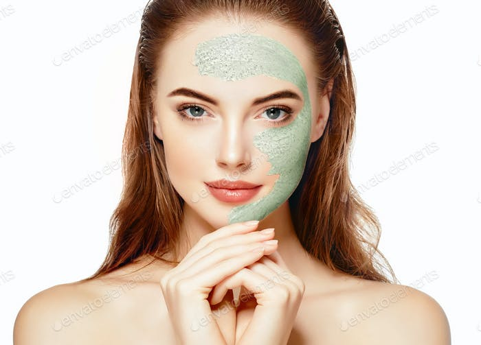 Woman spa mask half-face beauty concept.Woman spa mask half-face beauty concept.