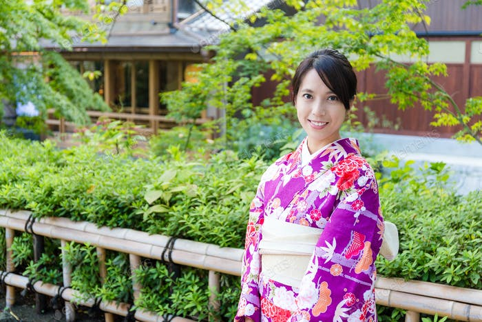 Woman with traditional japanese costume