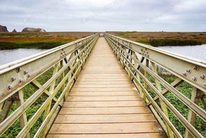Wood and metal bridge