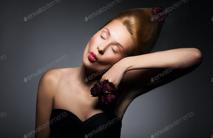 Woman with Closed Eyes Grimacing