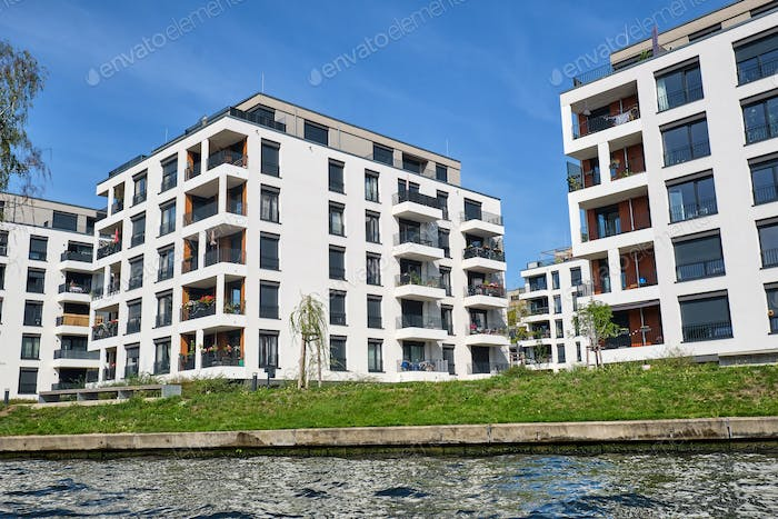 New apartment buildings at the river Spree