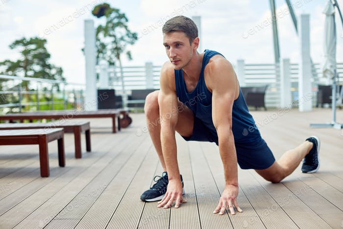 Handsome Man Working Out Outdoors