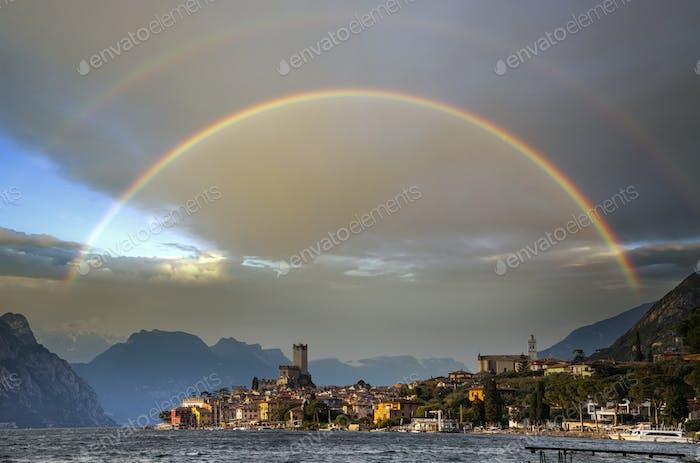 Malcesine rainbow, Italy
