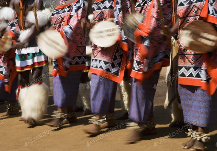 Dancers wearing traditional dress, Kingdom of Eswatini, Southern Africa.