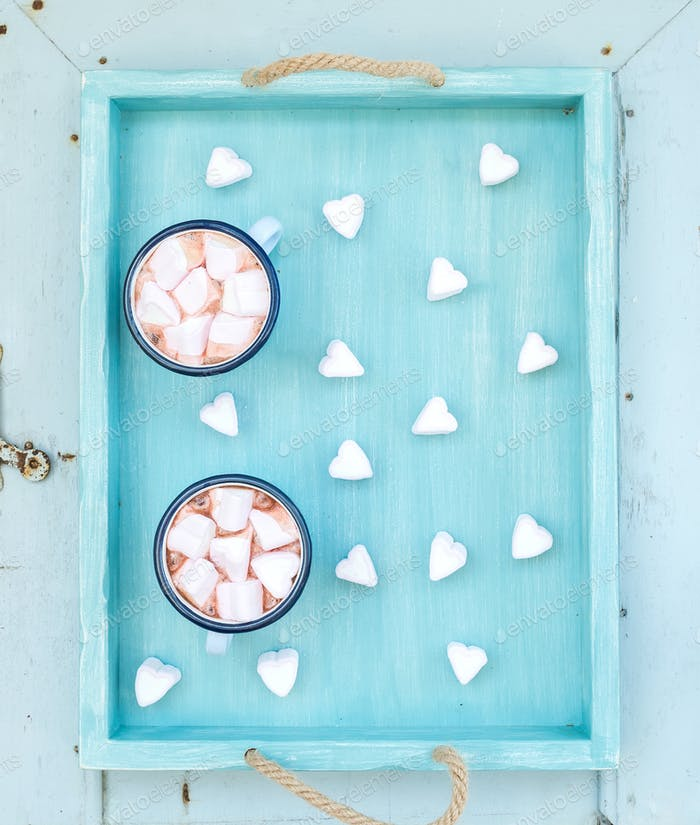 Saint Valentine's holiday greeting set. Hot chocolate and heart shaped marshmallows